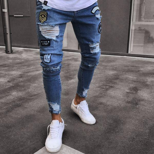 Jean slim extendable biker ripped embroidery and print