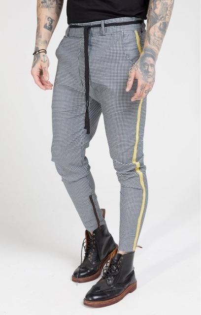 Casual checked skinny pants for men