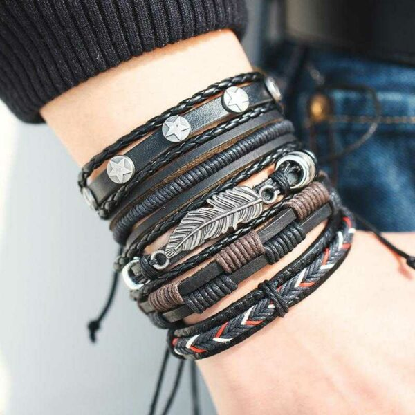 Men's hand-woven vintage leather bracelet set