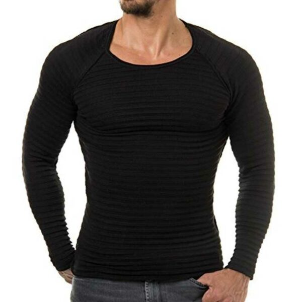 Slim knit sweater fit casual striped o neck for men