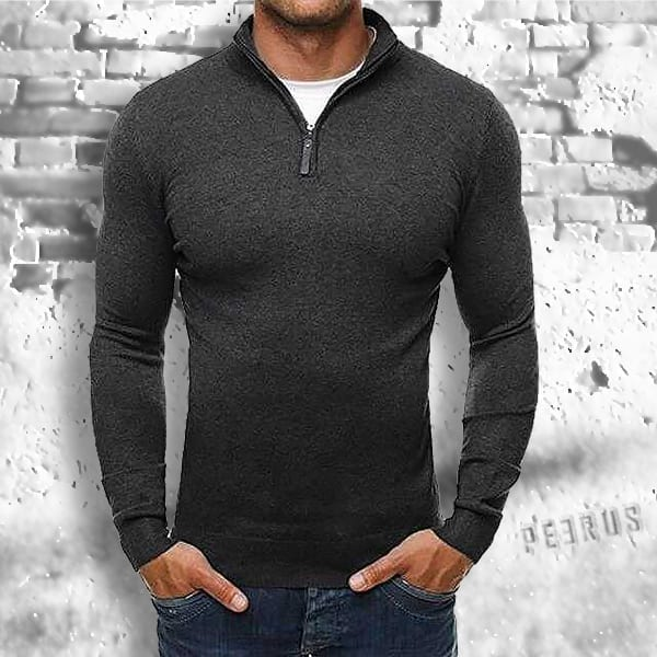 Slim zip-up thin collar wool sweater for men