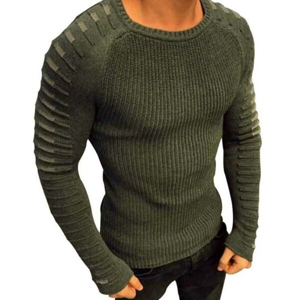 Men's slim style knitted wool sweater