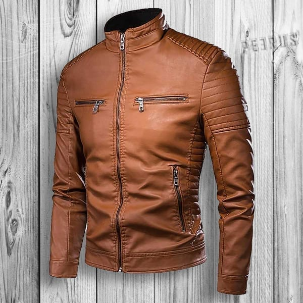 Men's mid-season leather jacket style biker