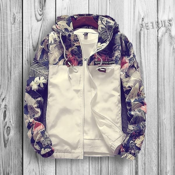 Light jacket patterned flowers for men