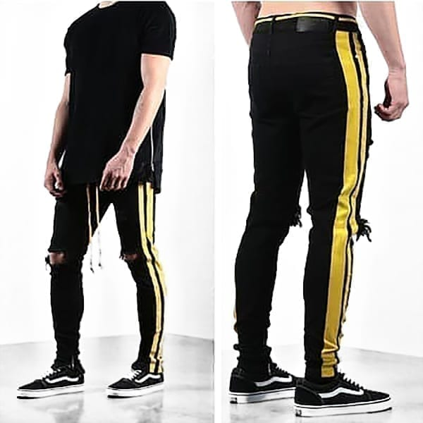 Black jeans streetwear style for men design stripes