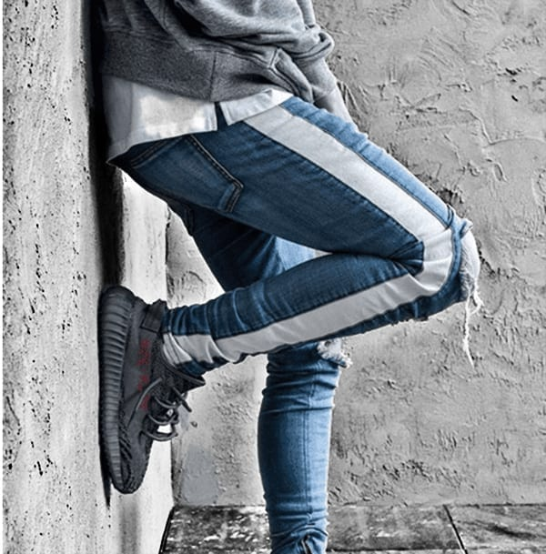 Blue jeans retro streetwear style for men design stripes