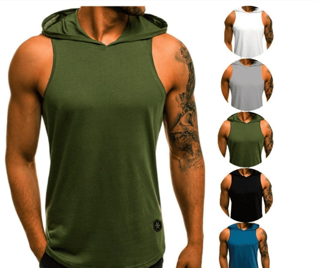 Sleeveless tank top T-shirt with men's sportswear gym hood
