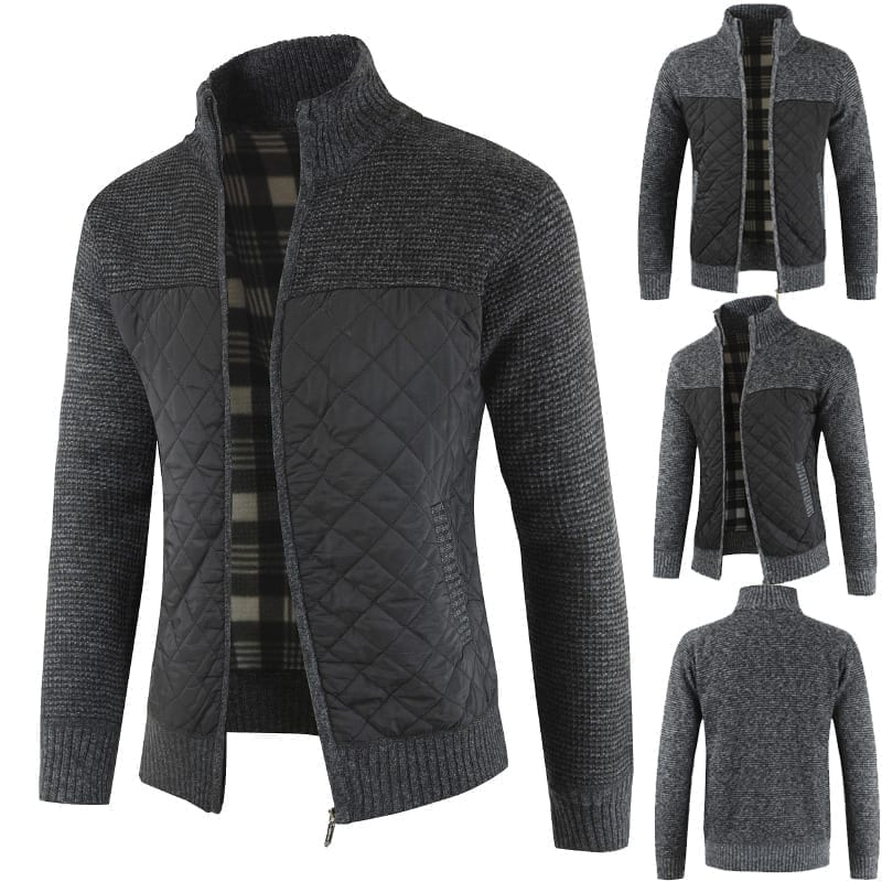 Men's knitted velvet cardigan-style jacket