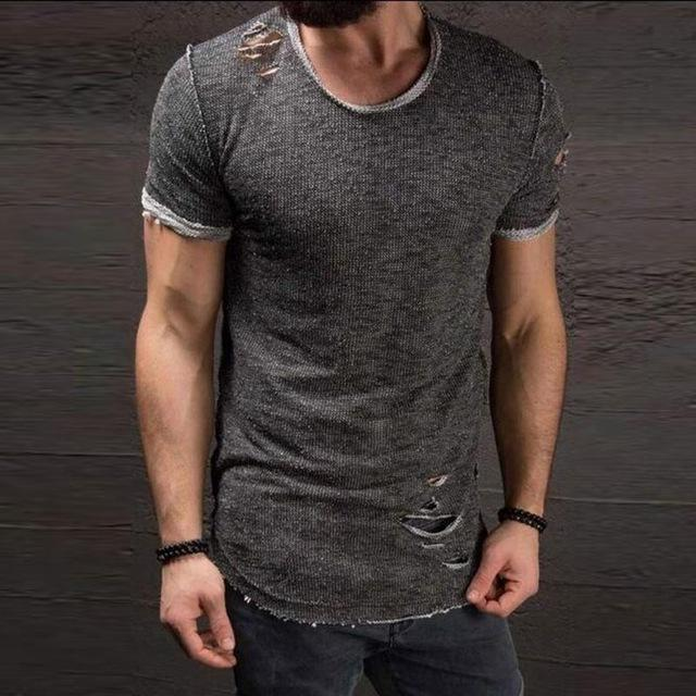 Men's ripped short-sleeved T-shirt