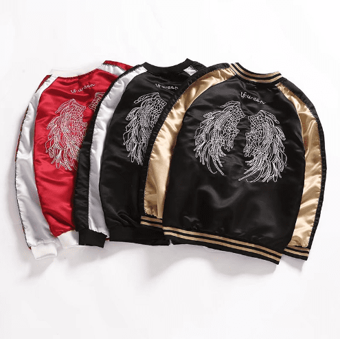 Korean-style embroidered bomber jacket