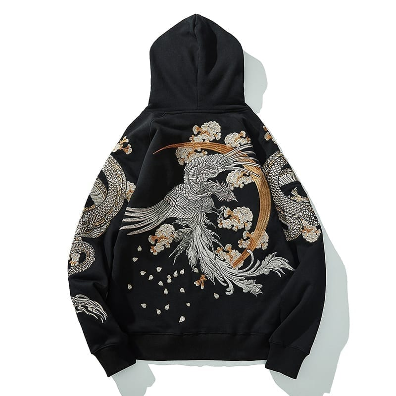 Embroidered Japanese streetwear style hooded sweatshirt
