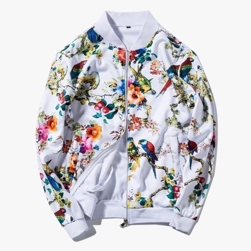 Bomber jacket prints flowers for men