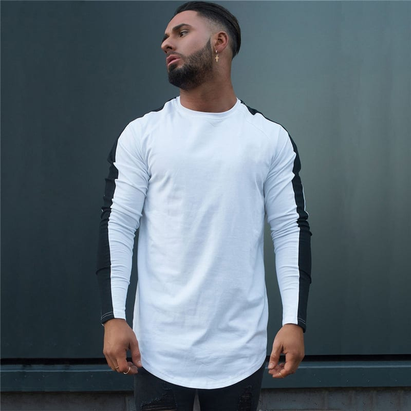Men's streetwear-style long-sleeved T-shirt