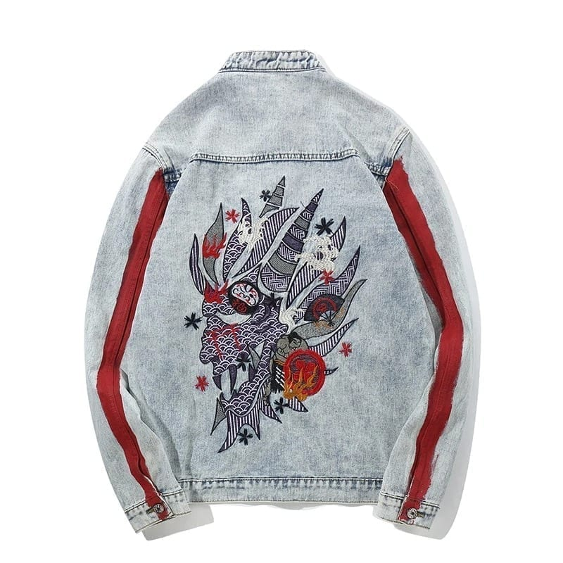 Men's washed-out denim embroidered denim coat