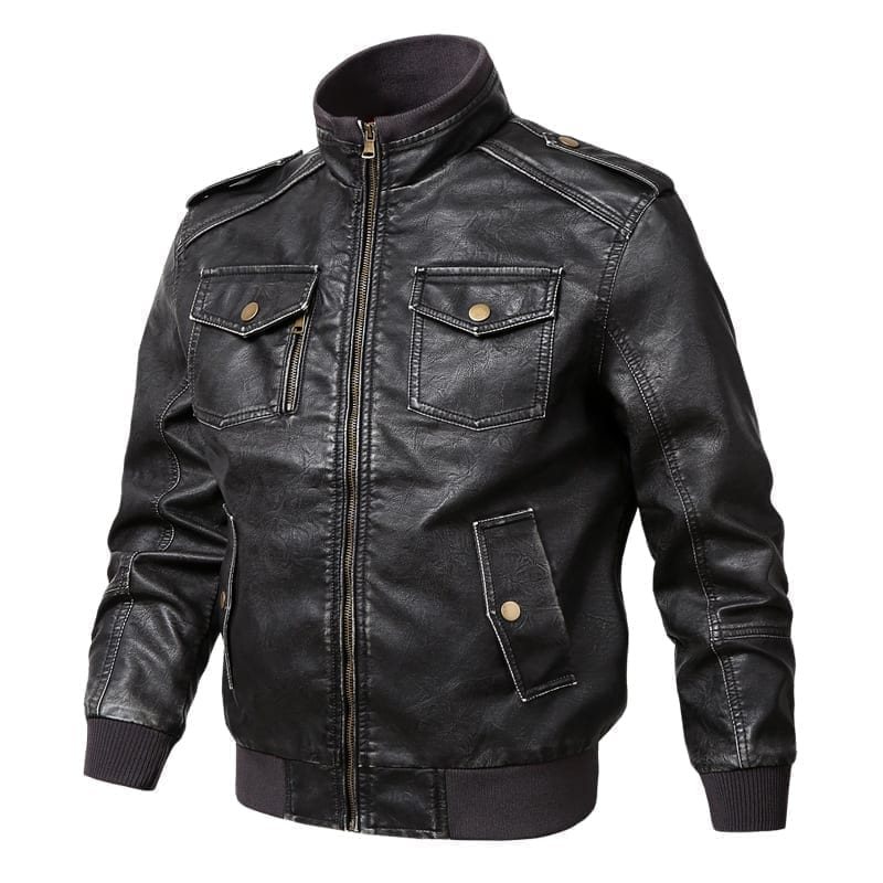 Plus-size men's PU leather jacket
