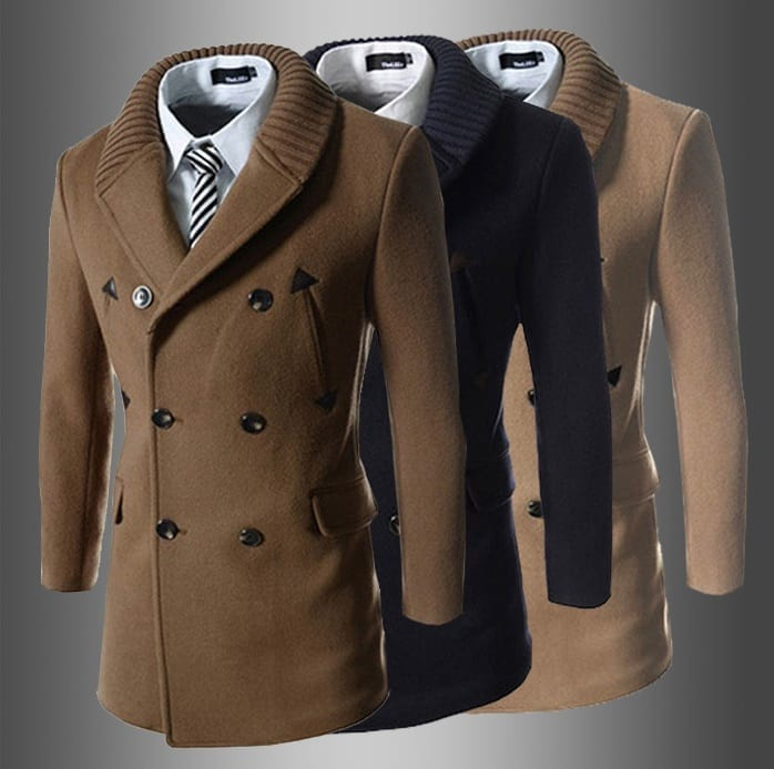 Trench coat for men's knit collar