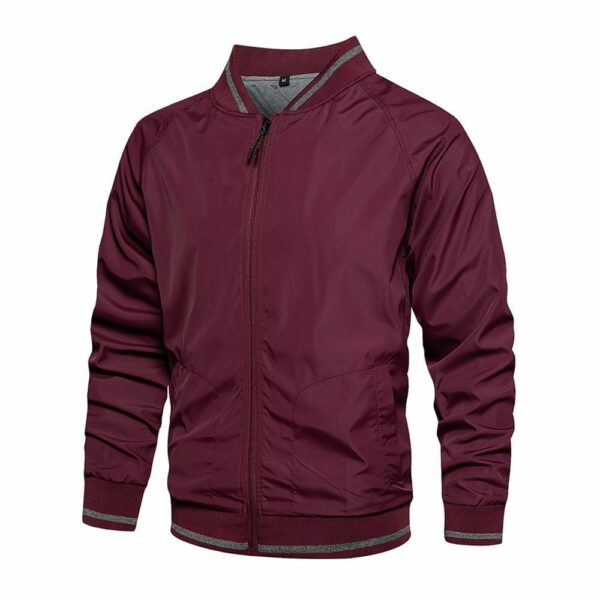 Men's solid-colour bomber-style windbreaker