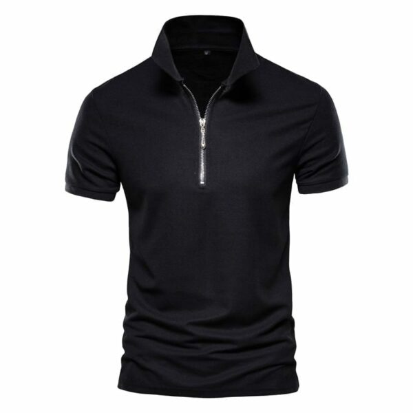 Men's zipped collar polo