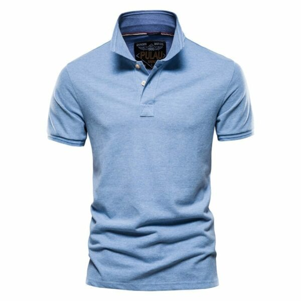 Men's single-coloured cotton polo shirt