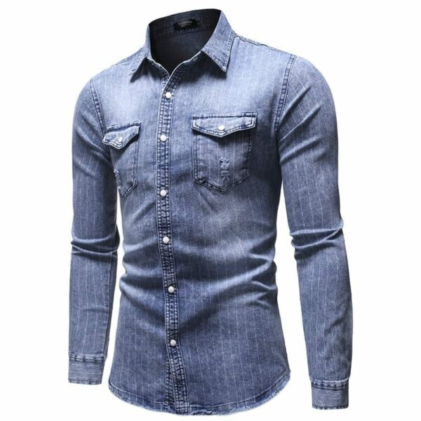 Denim shirt with stripes for men