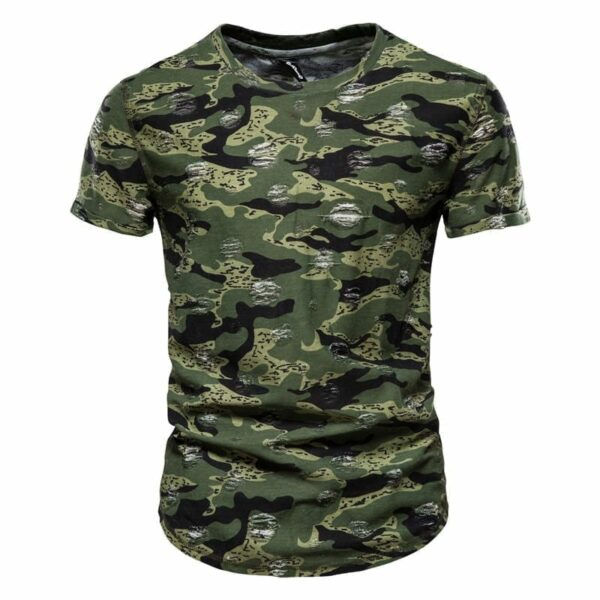 Men's camouflage-style round-necked T-shirt