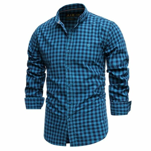 Chemise brodée style flannel pour hommes