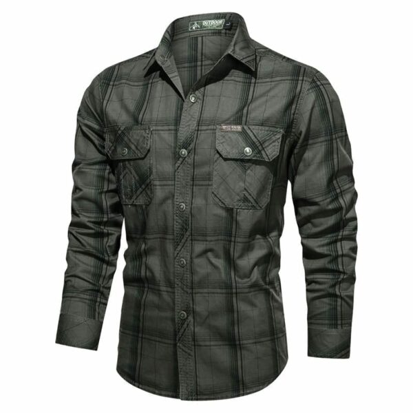 Men's long-sleeved checkered shirt