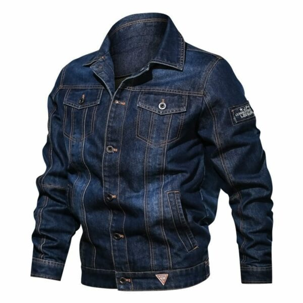 Half-season denim jacket with men's embroidery