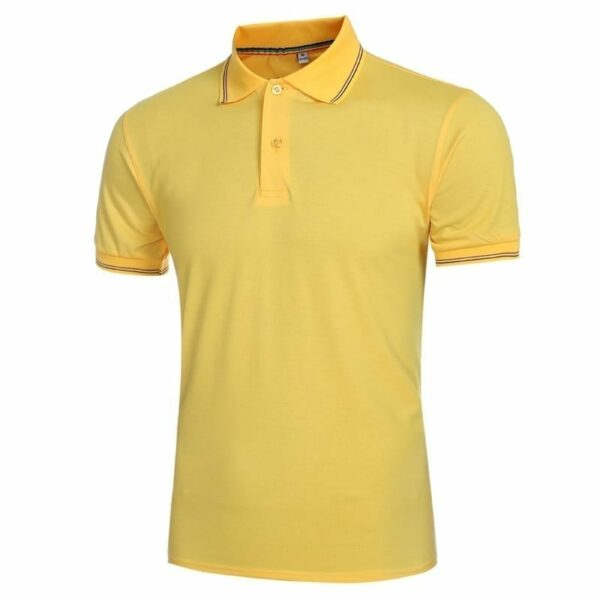 Men's yellow short-sleeved polo shirt