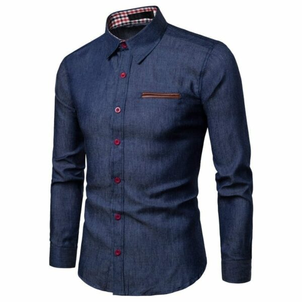 Men's long-sleeved denim shirt
