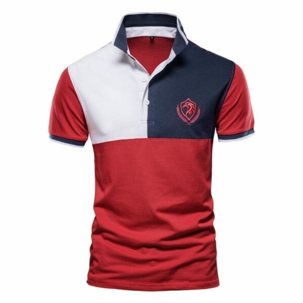 Men's short-sleeved embroidered tri-colour polo
