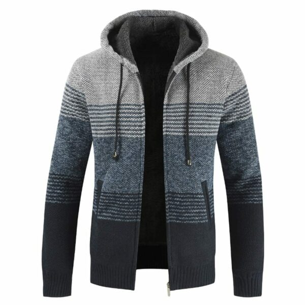 Stripe style jacket with mid-season hood for men