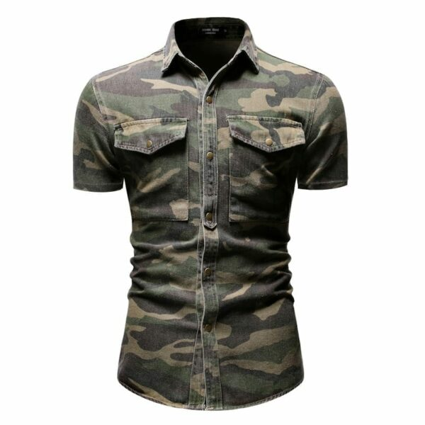 Jean denim shirt camouflage short sleeves men