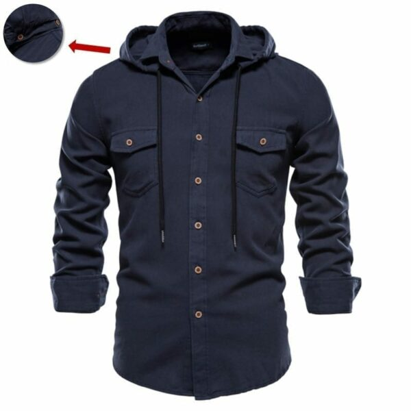 Long-sleeved shirt with men's hoods