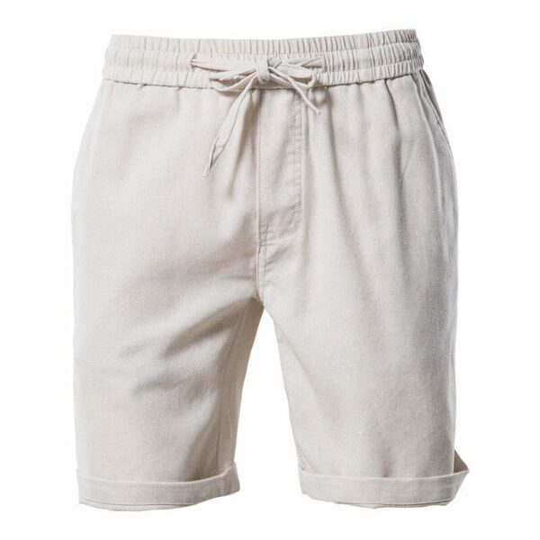 Men's solid linen and cotton shorts