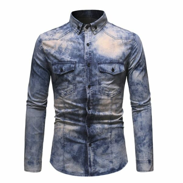Men's tie and dye pastel denim shirt