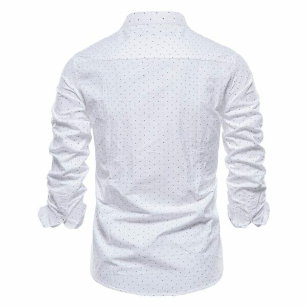 Men's long-sleeved polka dot shirt